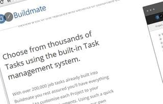 Abstract screenshot of Buildmate Website